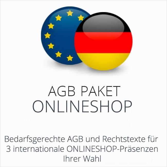 Das AGB Paket Onlineshop mit 3 rechtssicheren AGB für deutsche und internationale Onlineshops Ihrer Wahl