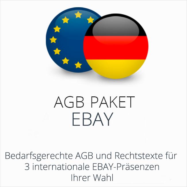 Das AGB Paket eBay mit Rechtstexten für deutsche und internationale ebay-Präsenzen