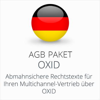 Das AGB Paket Oxid mit abmahnsicheren Rechtstexten für Multichannel-Vertrieb über Oxid